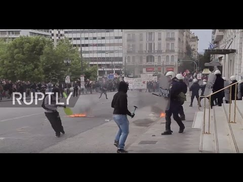 Greece: Clashes erupt at Hellenic Parliament as protesters rail at austerity measures
