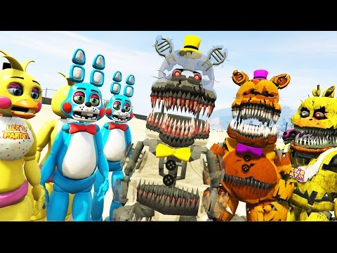 NIGHTMARE ANIMATRONICS vs TOY ANIMATRONICS! (GTA 5 Mods FNAF Funny Moments)