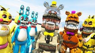 Кошмар аніматроніки проти іграшкових аниматроников! (ГТА 5 Моди Фнаф смішні моменти)