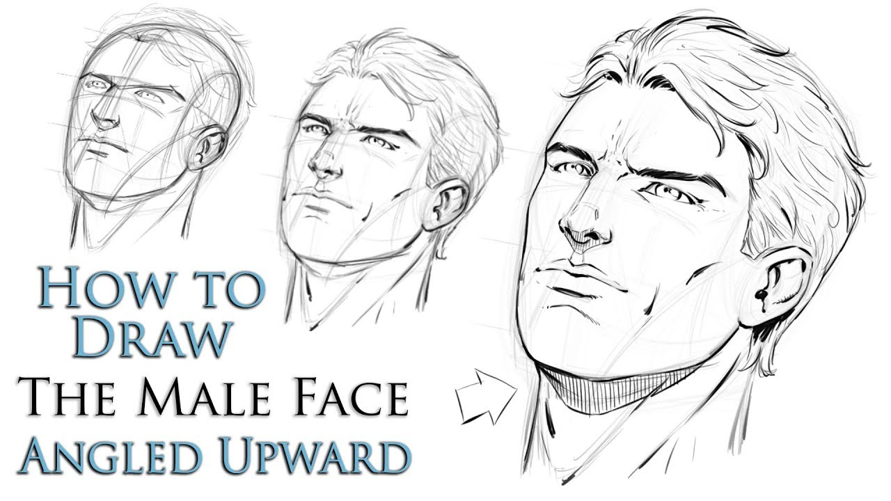 Line Drawing Male Face : How to draw a male face angled upward step by youtube