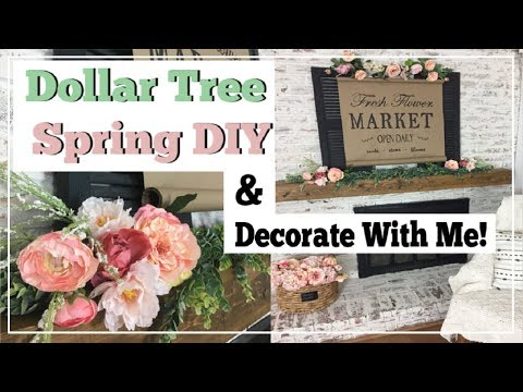 Spring Dollar Tree DIY & Decorate With Me | Spring Farmhouse Mantel Decor | Momma From Scratch