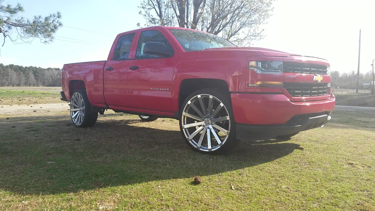 2015 Chevrolet Silverado 1500 Double Cab >> 2016 Chevy Silverado on 26's - YouTube