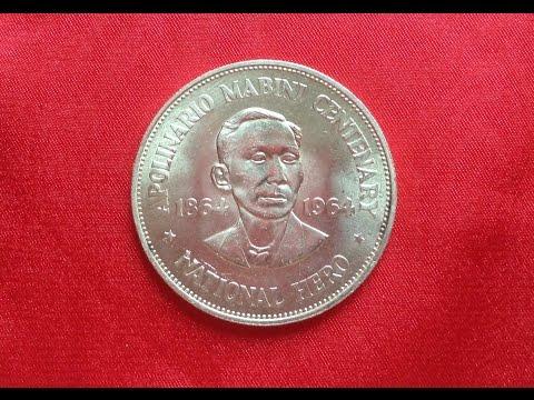 PHILIPPINES SILVER PESO 1964 - 100th Anniversary Birth of Apolinario Mabini