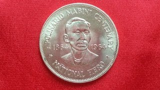 PHILIPPINES SILVER PESO 1964 - 100th Anniversary Birth of Apolinario Mabini