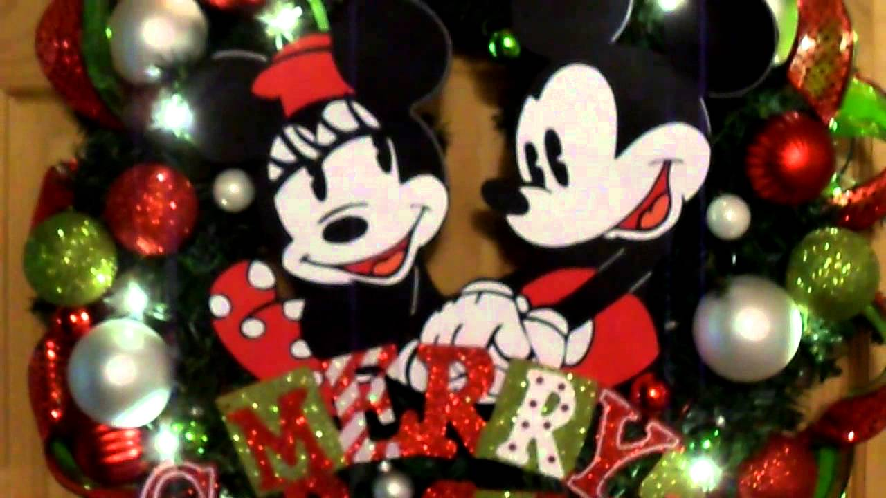mickey and minnie mouse christmas wreath - Mickey Mouse Christmas Wreath