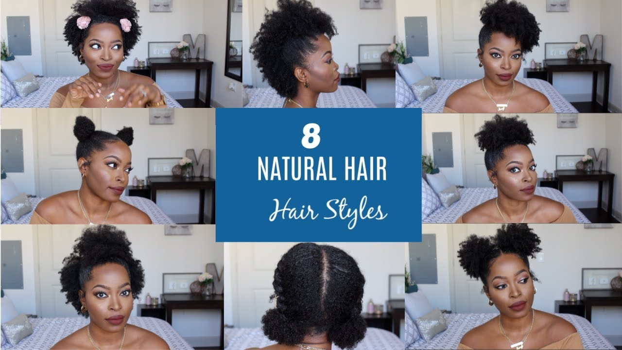 Natural Hair Styles For Short To Medium Hair 4b 4c Half Up Space Bun High Puff Post Big Chop Youtube