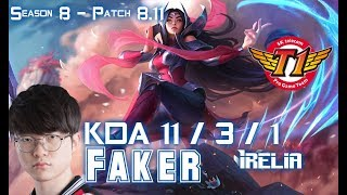 SKT T1 Faker IRELIA vs YASUO Mid - Patch 8.11 KR Ranked