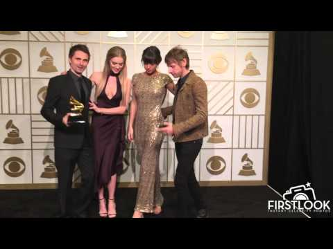 WINNER BEST ROCK ALBUM: Muse in the press room at the 58th GRAMMY Awards in Los Angeles
