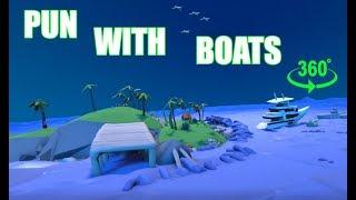 WORTSPIEL mit Boote   Boot Karikatur in der VR-360 (Achtung Wortspiel)