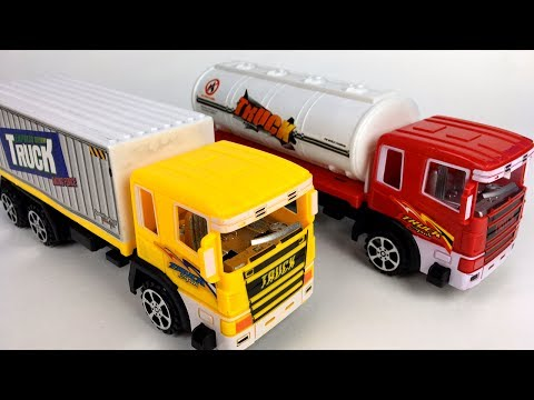 TRUCK SUPER POWER SEMI CITY VEHICLES - DELIVERY TRUCK & OIL TANKER WITH FRICTION MOTORS - UNBOXING