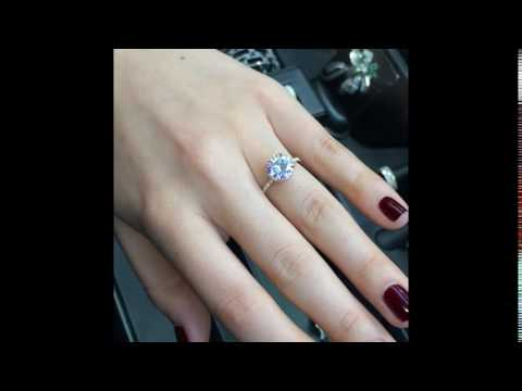 3 Carat Round Moissanite Engagement Ring