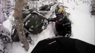 Runaway snowmobile!  Kealey loses his grip the Rev Mod sled. PowerModz!