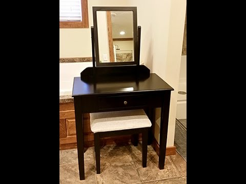 Best Choice Products Vanity Table Set W/ Stool Bedroom Home Furniture- Black