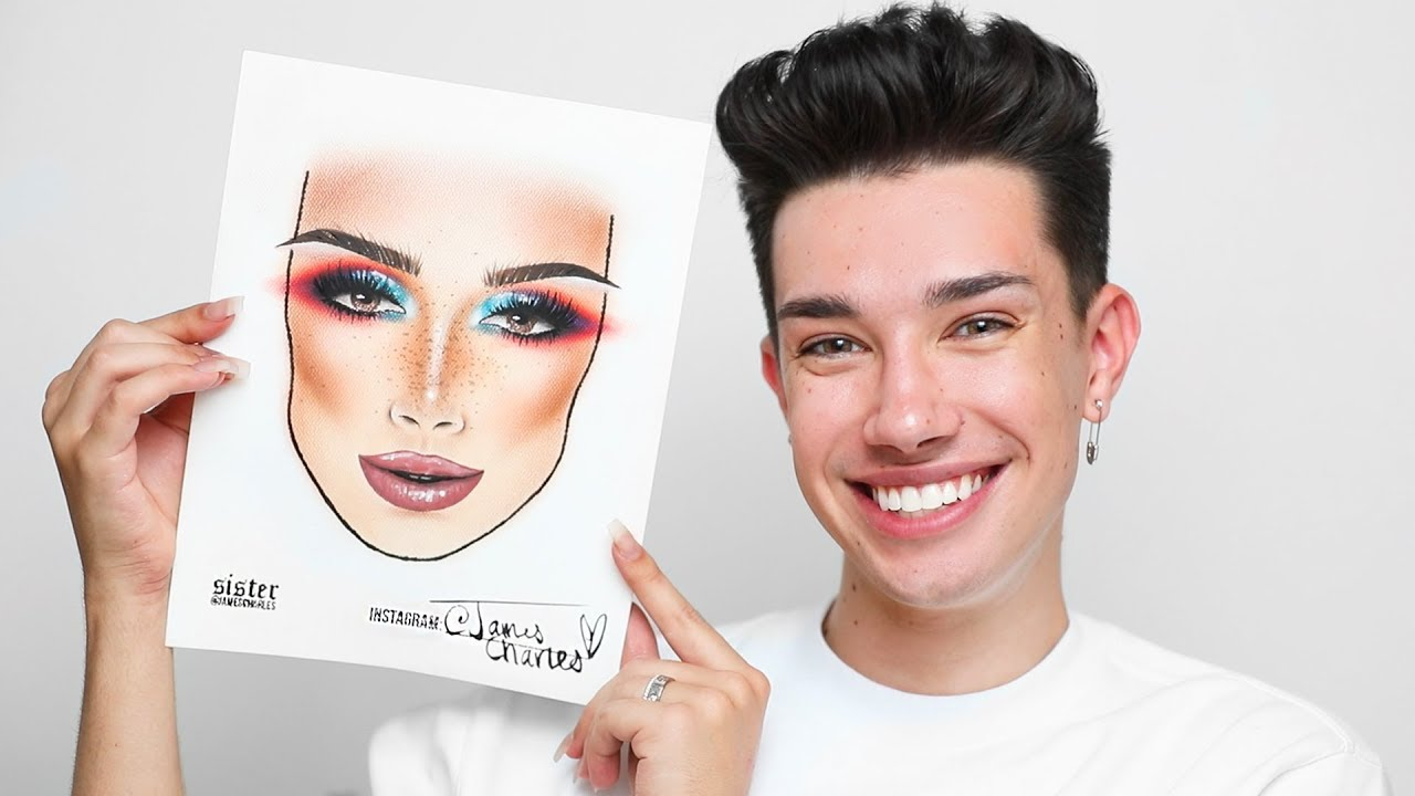 Drawing myself with makeup james charles also youtube rh