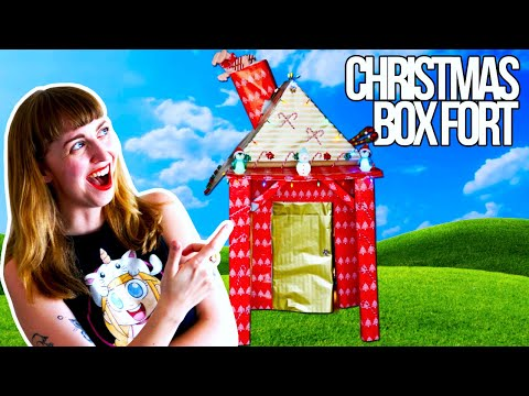 CHRISTMAS BOX FORT CHALLENGE with Fireplace and Candy Canes!