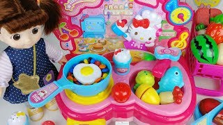 Baby doll kitchen and refrigerator cooking food toys play - 토이몽