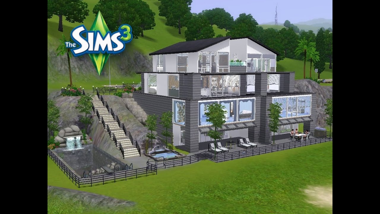 sims 3 haus bauen let 39 s build schickes modernes haus am berg youtube. Black Bedroom Furniture Sets. Home Design Ideas