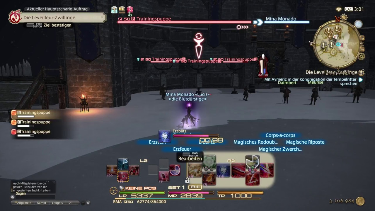 Final Fantasy XIV Red Mage lvl 50 Rotations Test - PS4 Pro