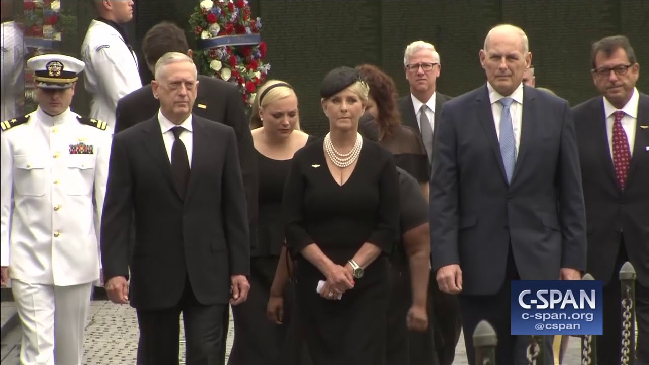 Cindy McCain and others at Vietnam Veterans Memorial (C-SPAN)
