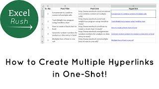 Creating multiple hyperlinks in Excel in 1 shot