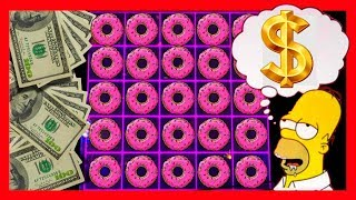 MASSIVE WIN! 🖐 I USED AN EXTRA FINGER TO CATCH MORE SPRINKLES!!!🖐 Simpsons Slot Machine Bonuses 🍩