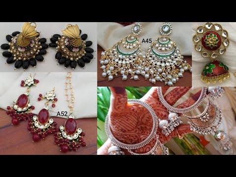 beautiful-stylish-modern-designer-earrings- -perfect-indo-western-antique-kundan-polki-jewellery