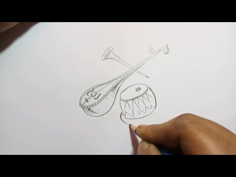 pencil sketch of musical struments. with pencil step by step  for  beginners