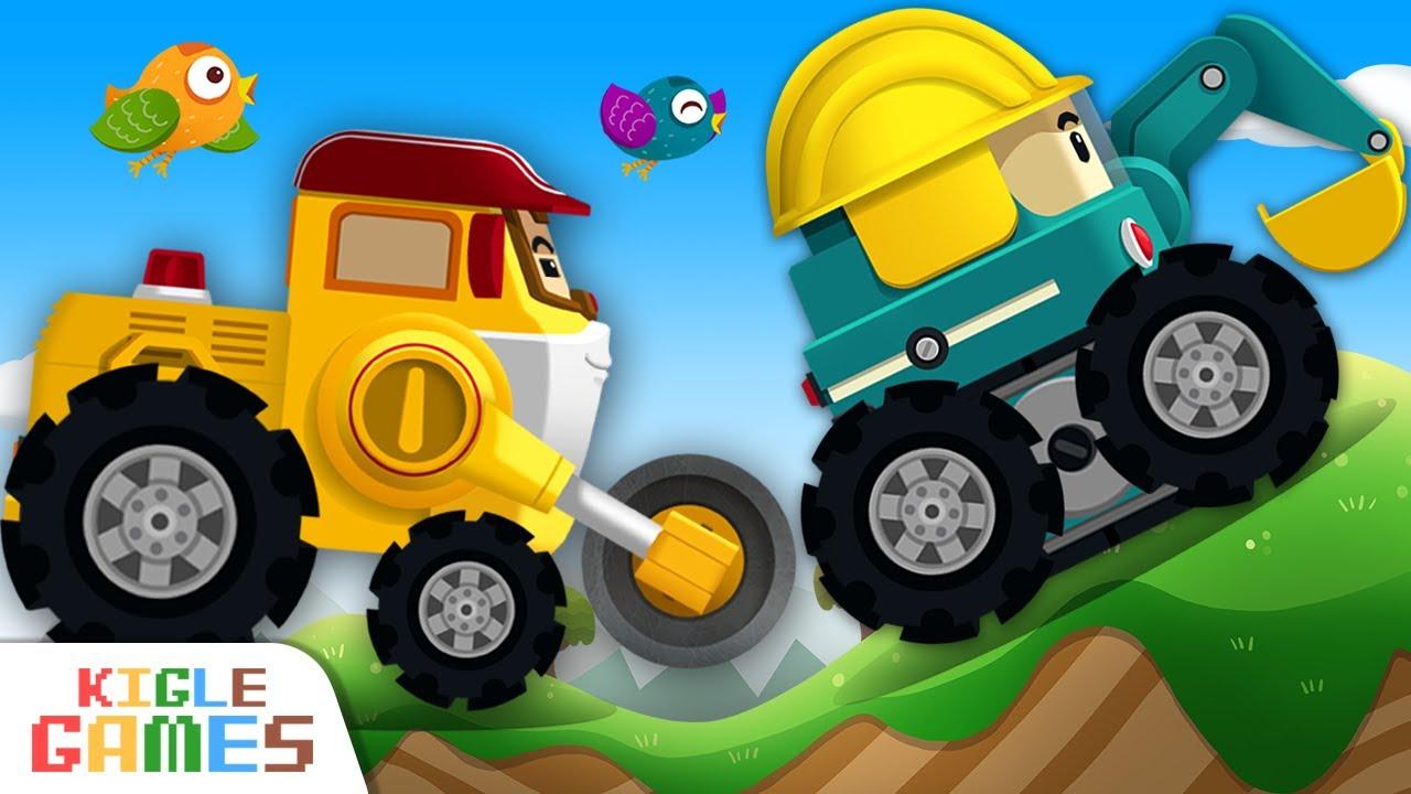 포크레인과 불도저를 수리하자! | 로보카 폴리 정비놀이 | 레미콘 덤프트럭 경찰차 구급차 소방차 출동 중장비 자동차 세차 놀이 | 키글 게임 | KIGLE GAMES