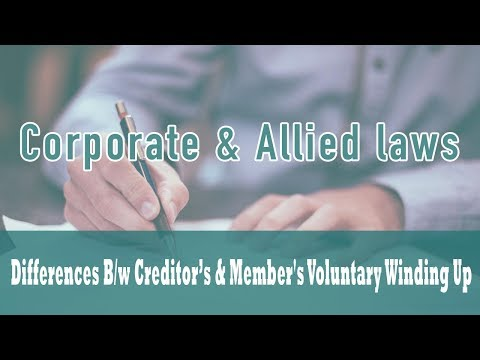 Winding Up | Part VII Of Companies Act 1956 |  Creditor's & Member's Voluntary Winding Up| Class 27