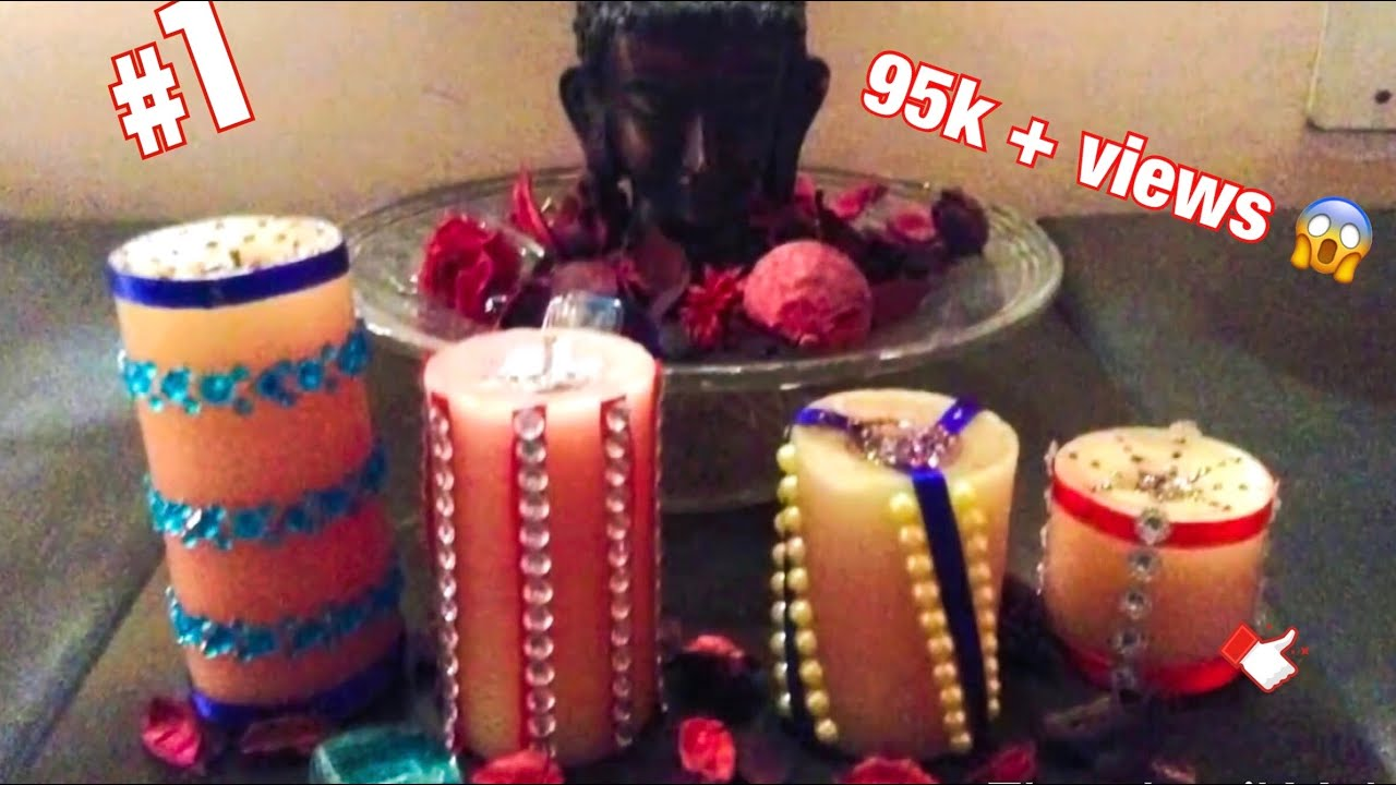 how to decorate candles or candle   ( home DIWALI decoration ) DIY
