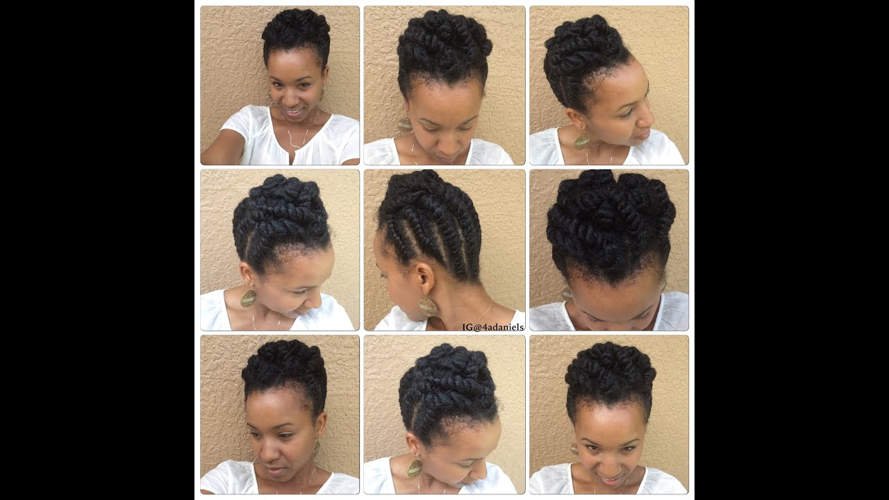 Natural Hair Chunky Flat Twist Protectivestyle Updo Short
