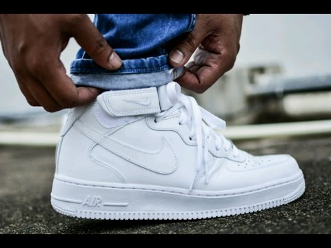 nike air force 1 mid blue white background