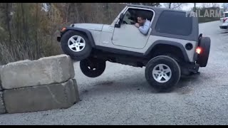 Man Tries To Park Jeep On Wall and Fails | Fails Compilation