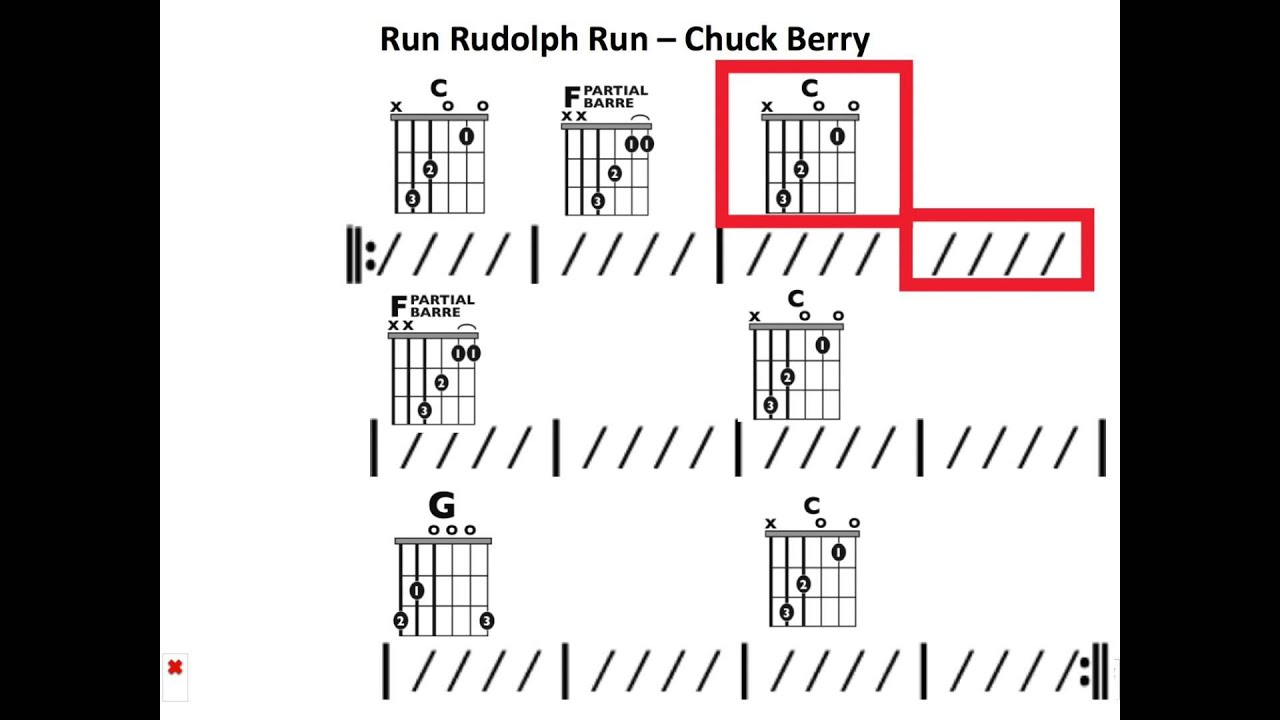 Run Rudolph Run Chuck Berry Moving Chord Chart Youtube