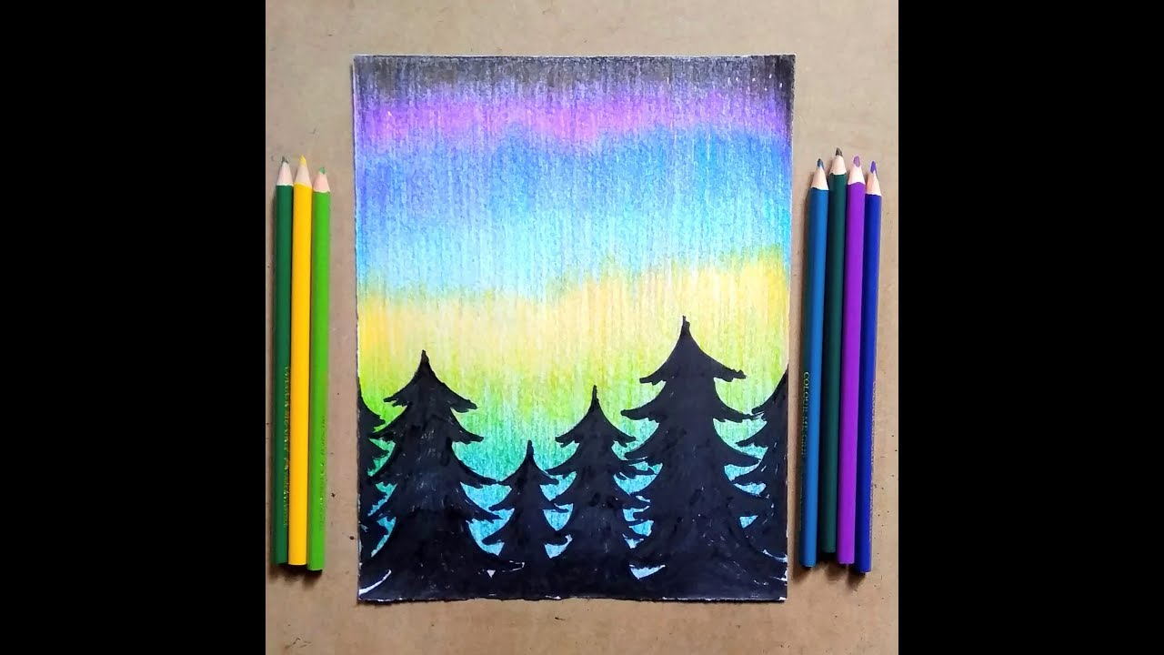 Drawing A Aurora Night With Trees By Pencil Colour Sketch Step By Step Hu Youtube