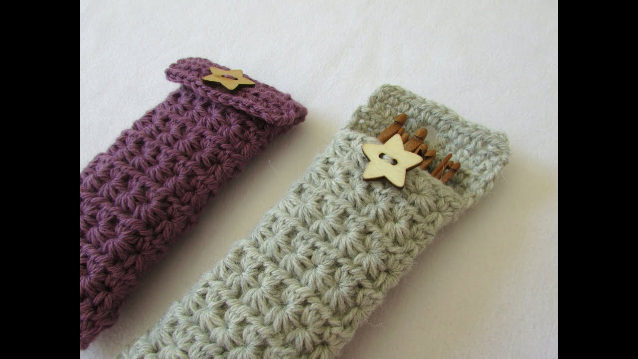 Free Crochet Star Hook Case Pattern : How to crochet a star stitch crochet hook case / holder ...