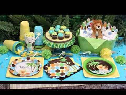 Safari baby shower decorations youtube for Baby shower safari decoration