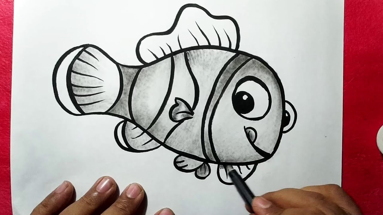 Line Art Of Fish : How to draw a cute fish easy line drawing of yzarts
