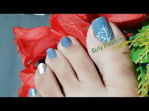Silver And Grey Winter Toe Nail Art Tutorial/DIY pedicure/Easy Nail Art for Beginners-Girly Pleasure thumbnail
