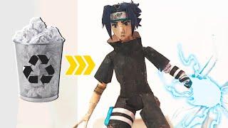 Fiz do ZERO o Sasuke ARTICULADO e RECICLÁVEL! + Naruto é Anime ou Desenho?