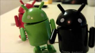 Walking Google Android Robot Windup Toys In Action