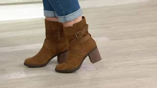 Clarks Artisan Suede Side Zip Boots - Malvet Doris on QVC