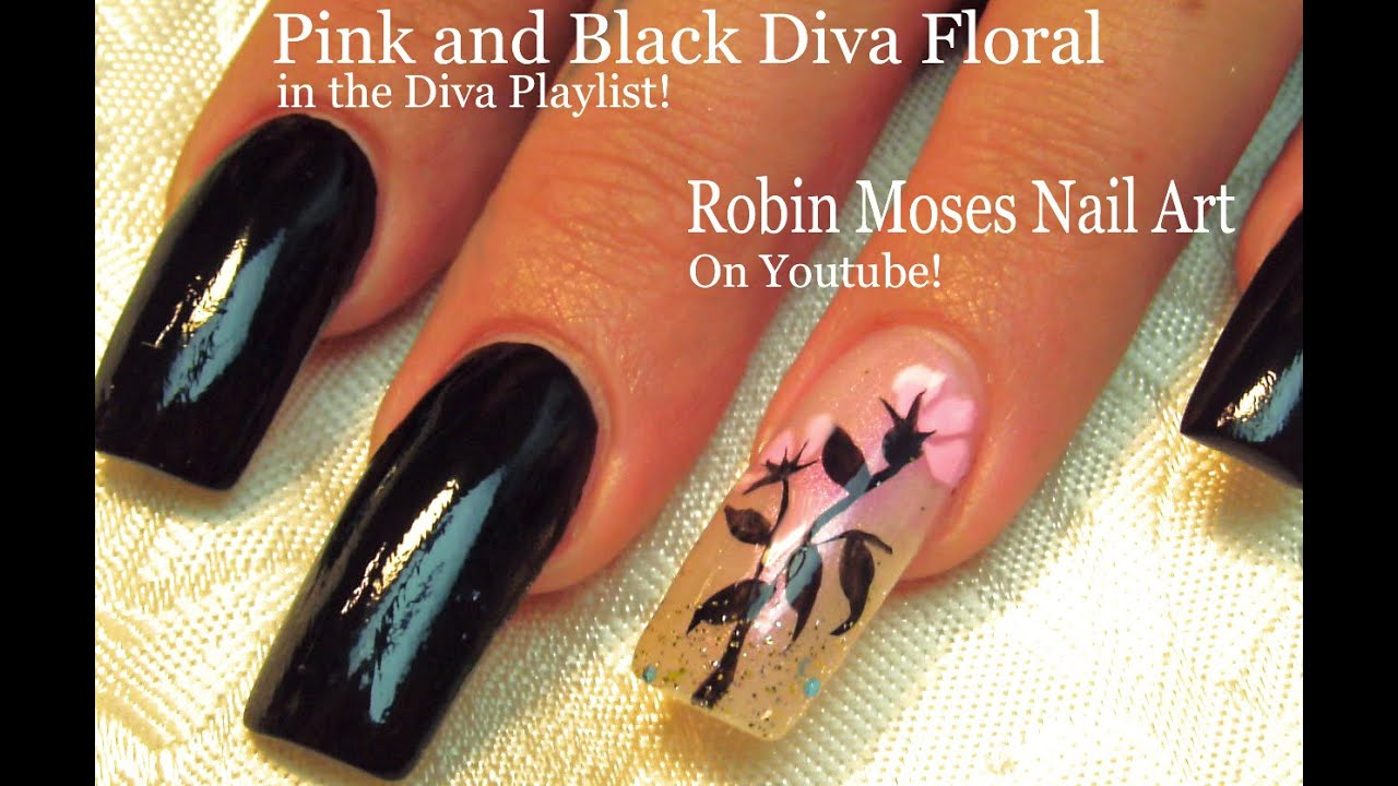 Easy Long Nails Tutorial - DIY Black With Pink Flower Nail Art - YouTube