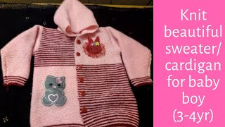 Knit beautiful sweater/cardigan for your baby boy(3-4yr)