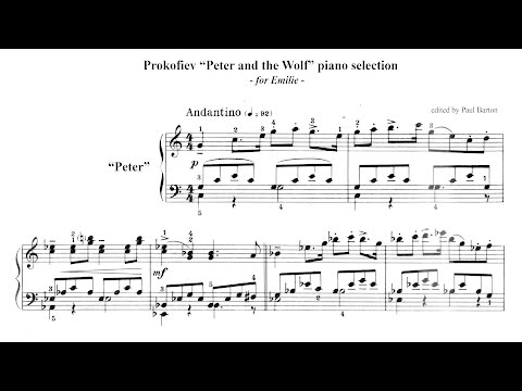 "Prokofiev ""Peter and the Wolf"" PIANO selection + FREE SHEET MUSIC"