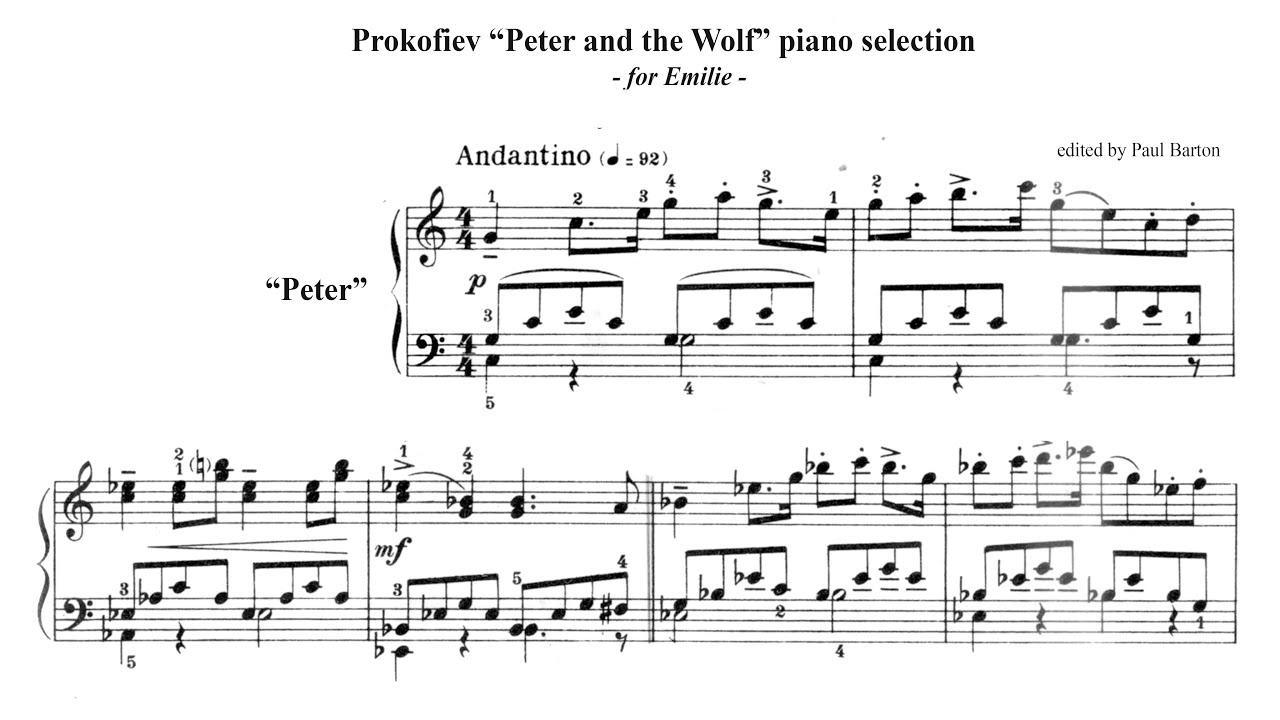 prokofiev peter and the wolf piano selection free. Black Bedroom Furniture Sets. Home Design Ideas