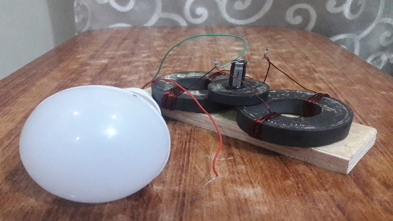free energy magnet generator 12v led light bulb using copper wire and capacitor [ 1280 x 720 Pixel ]