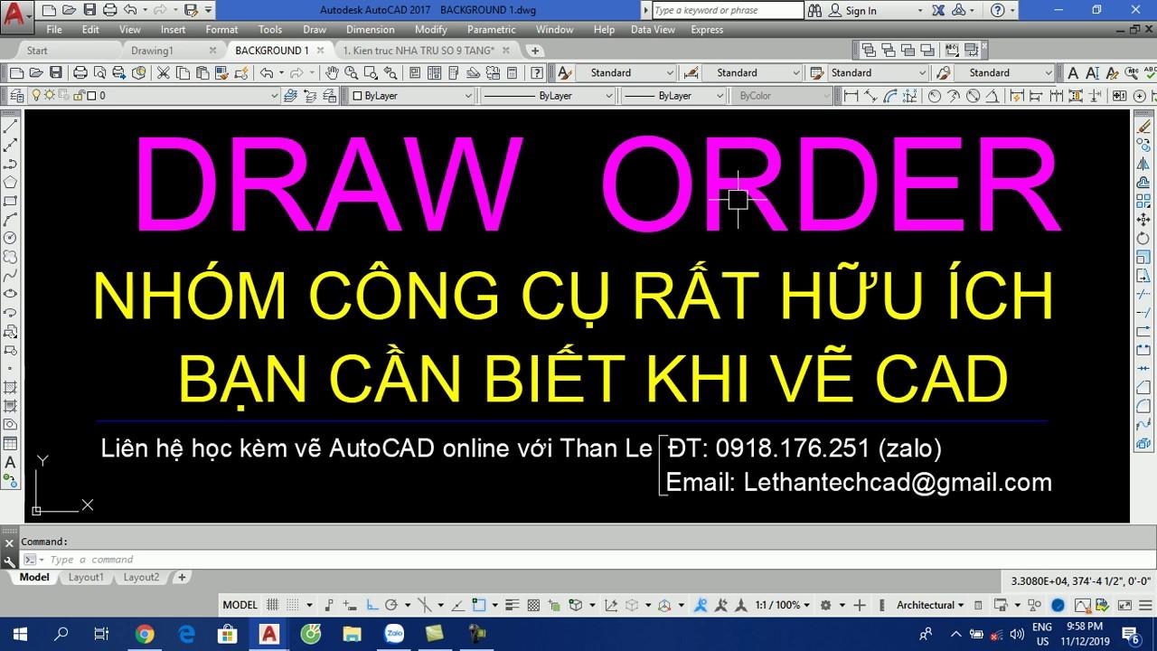 Sắp xếp trật tự trên dưới các đối tượng trong AutoCAD - Draw Order in AutoCAD