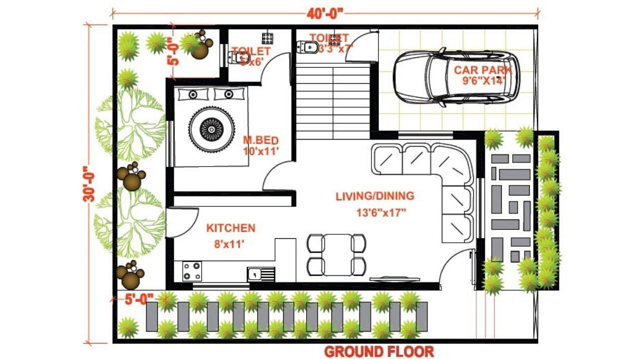 30x40 house plan north facing villa plan duplex 3bhk