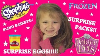 Fun toyz PLAY DOH SURPRISE EGGS!! FROZEN SURPRISE BAGS!! SHOPKINS BLIND BASKETS!! LOTS OF FUN!!